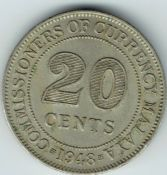 Malaya, George VI, 20 Cents 1948, VF, WB5651